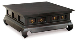 Chinese Oriental Coffee Table 4 Drawers Large Square Design Curve Legs 100 cm x 100 cm TEK168 CT 004 TS ( Chocolate Colour )