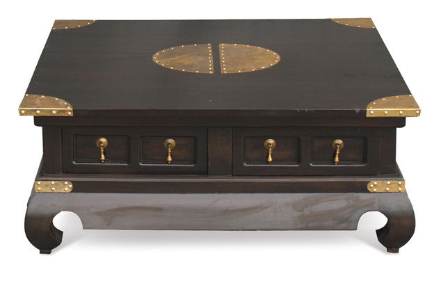 Chinese Oriental Coffee Table 100 cm x 100 cm Square Design 4 Drawers TEK168 CT 004 TS CSN ( Chocolate Colour )