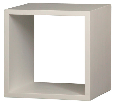 Minimalist Teak Cube White Color Display 1 Shelf TEK168CU 001 RPN