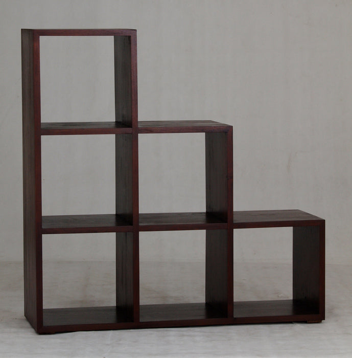 Minimalist Teak Cube-Six-Stairs-Shelf-Display Bookcase Mahogany Colour TEK168CU-006-RPN