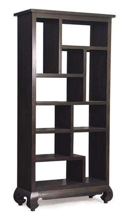 Chinese Oriental Divider Bookcase multiple compartment Book Cabinet TEK168 CU 010 OL ( Chocolate Colour )