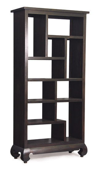 MP - Chinese Oriental Divider Bookcase multiple compartment Book Cabinet TEK168 CU 010 OL ( Chocolate Colour )