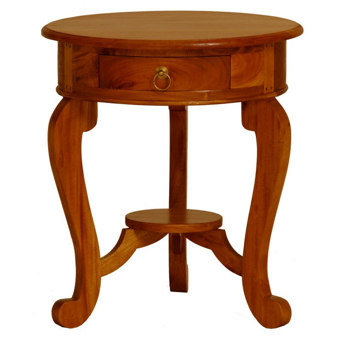 Cabriol leg 1 Drawer Lamp Table Product Code TEK168 LT 001 RD CL ( Mahogany Colour ) Exact Showroom Piece ( Pre Order 8 - 16 week )