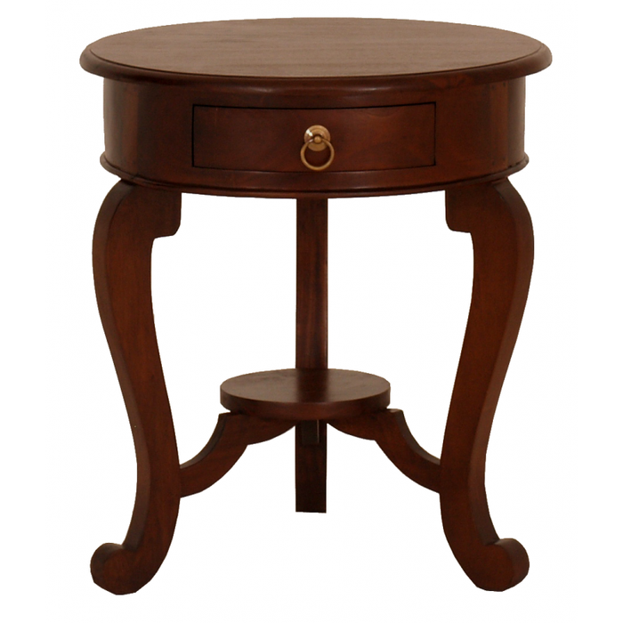 Cabriol leg 1 Drawer Lamp Table Product Code TEK168 LT 001 RD CL ( Chocolate Colour ) ( Pre Order 8 - 16 week )