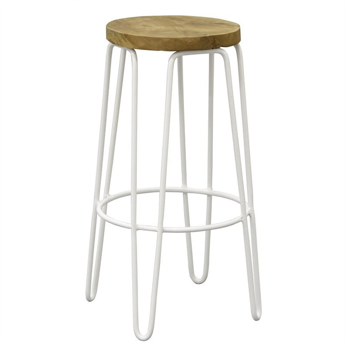 Carlisa Teak Timber and Steel Round Bar Stool - White TEK168BR-067-RIB-WH_1