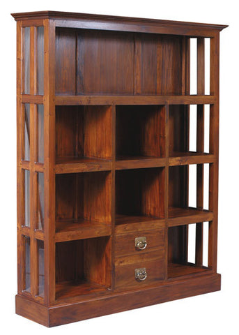 Display Cabinet Range 4 Shelves 2 Drawers TEK168DC 002 GL ( Mahogany Colour )
