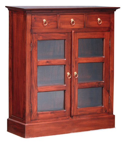 MP - Display Cabinet Range Glass Door 3 Drawers Bookcase Storage Bookshelves System TEK168 DC 003 PN ( Mahogany Colour )