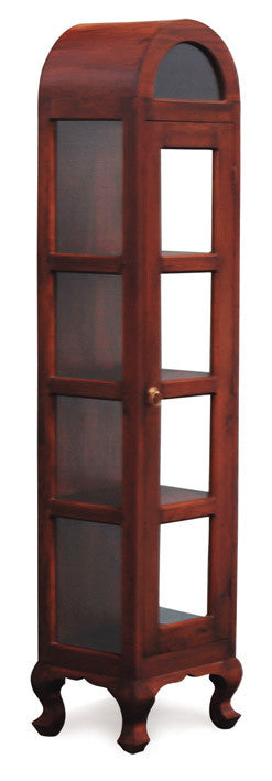 Display Cabinet Range 4 Shelves 1 Door French Leg TEK168DC 100 SDL  ( Picture Illustration Colour for Reference Only ) ( Chocolate Colour )