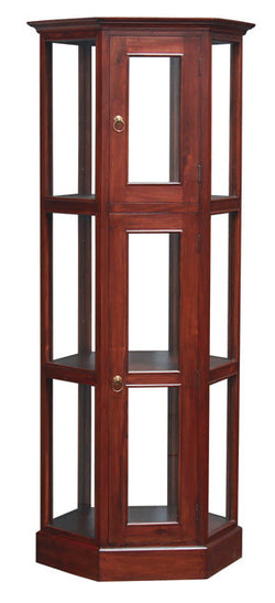 Display Cabinet Range Hexagon Glass Display 180 cm 1 Glass Door 3 Shelf TEK168DC 200 HX ( Mahogany Colour )