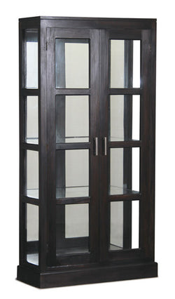 Milan Glass Display Mirror Back 2 Doors TEK168 DC 200 MR PNMK ( Light Pecan Colour)