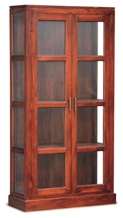 MP - Milan Glass Display Cabinet 2 Door No Mirror Back TEK168 DC 200 PNM K ( Light Pecan Colour )