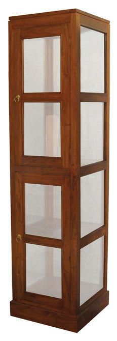 Display Cabinet Range Square Glass Cabinet 1 Glass Door 4 Shelf TEK168 DC 200 SQ ( Mahogany Colour )