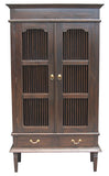Ruji Display Cabinet 3 Shelves 2 Slatted Door 2 Drawers Solid Wood TEK168DC 202 DW ( Chocolate Colour )