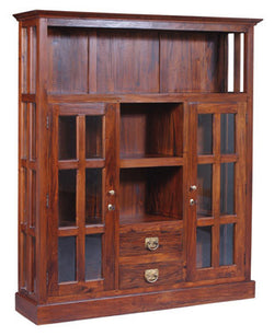 Display Cabinet Range Divider 2 Glass Door 4 Shelves 2 Drawers TEK168DC 202 GL ( Mahogany Colour )