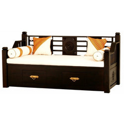 MP - Bali Daybed Sofa Bed 200cm with 2 Drawers and Free Mattress Free Cushion TEK168DB 6603 CV ( Chocolate Colour )