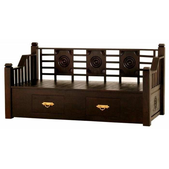 MP - Bali Daybed Sofa Bed 200cm with 2 Drawers and Free Mattress Free Cushion TEK168DB 6603 CV ( Mahogany Colour )