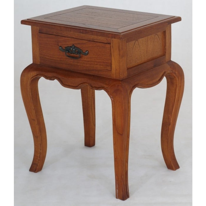 French Provincial 1 Drawer Lamp Table TEK168 LT 001 FP  ( Picture for Reference Only ) ( Light Pecan Colour )