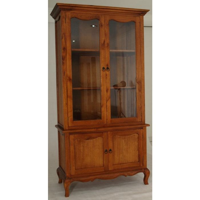 Mervin Solid Timber French Province Cupboard Display Hutch -French Buffet and Hutch - TEK168 AR 400 FP ( Light Pecan Colour )