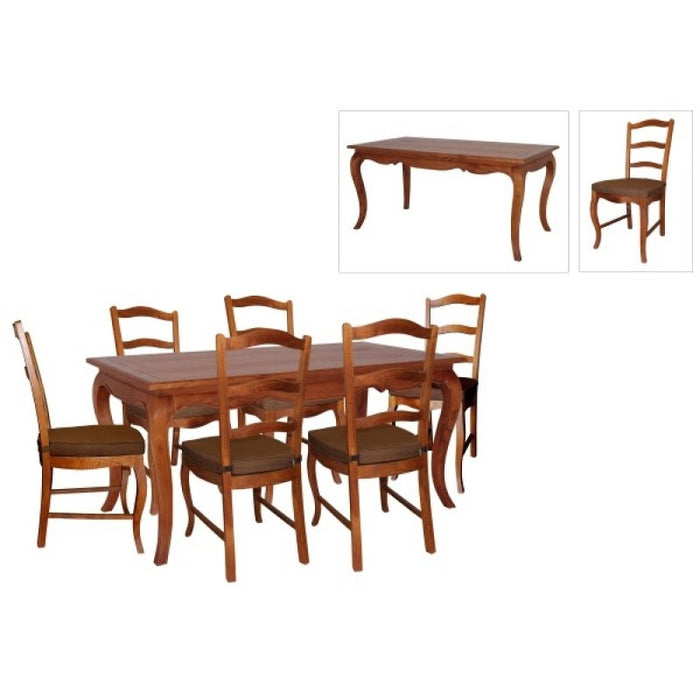 MP  - French Provincial Dining Table 150cm DT 150 85 FP  and 6 Chair with Cushion TEK168 DT 150 85 FP  with 6 Holland Chairs CH 000 HSR ( Picture for Reference Only ) ( Mahogany Colour )