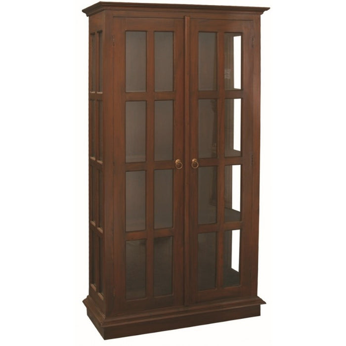 MP - Display Cabinet Range 2 Glass Door 4 Shelf Solid Wood TEK168 DC 200 GL  ( Picture Illustration Colour for Reference Only ) (Chocolate Colour )