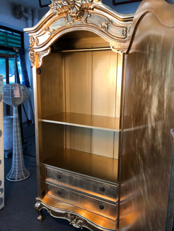 1 Member Special - Province Royal Gold Leaf French Wardrobe with 2 Drawers and Storage Free Delivery ( Royal Gold Colour )