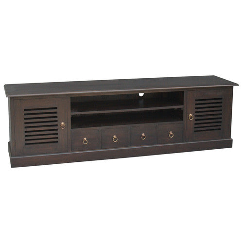 Hawaii TV Console 4 Slatted Doors 4 Drawers 2 Shelves TEK168 SB 204 DHSR ( Chocolate Colour )