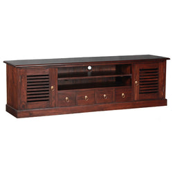Hawaii TV Console 4 Slatted Doors 4 Drawers 2 Shelves TEK168SB 204 DHSR ( Mahogany Colour )