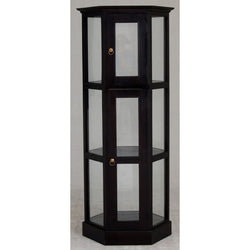 Display Cabinet Range Hexagon Glass Display 180 cm 1 Glass Door 3 Shelf TEK168DC 200 HX ( Chocolate Colour )