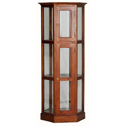 Display Cabinet Range Hexagon Glass Display 180 cm 1 Glass Door 3 Shelf TEK168DC 200 HX ( Light Pecan Colour )