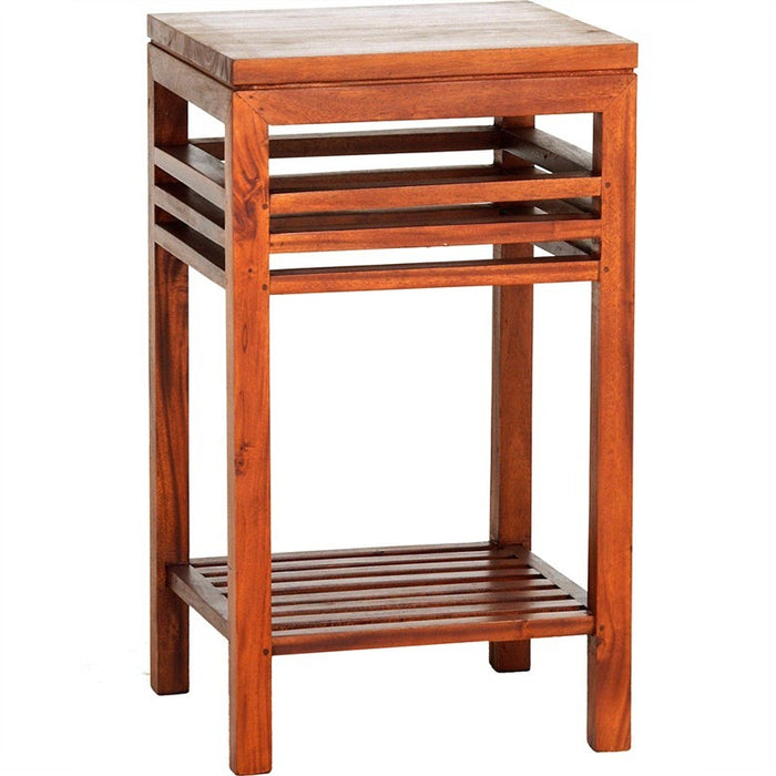 MP - Holland Tall Lamp Table Bedside Telephone Table Plant Stand TEK168 LT 000 HSR FL ( Light Pecan Colour )