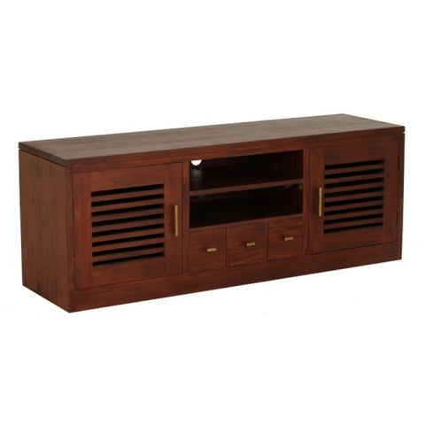 Holland TV Console 2 Slatted Door 3 Drawers Mahogany Colour TEK168SB 203 HSR FL