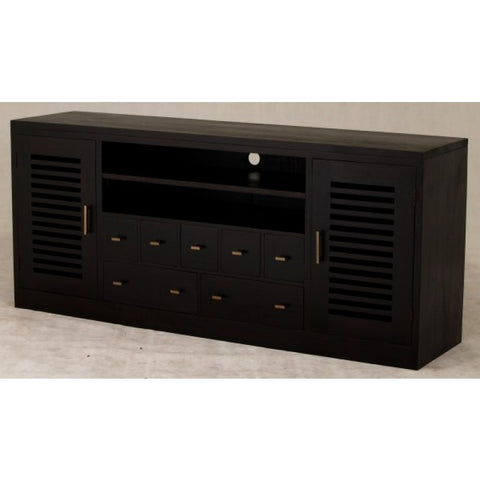Holland TV Console 185 cm 2 Slatted Door 2 Big Drawers 5 Small Drawers Chocolate Colour TEK168SB 207 HSR FL