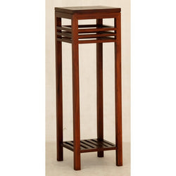 MP - Holland Tall Plant Stand Telephone Table Lamp TEK168 PS 000 HSR FL ( Mahogany Colour )