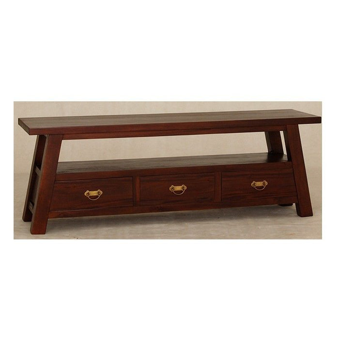 Japanese TV Console 3 Drawers 1 Long Shelf TEK168 SB 003 JS ( Mahogany Colour )