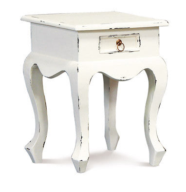Queen AnnMary French Side Table Night Stand TEK168 LT 001 QA ( White Distress Colour )