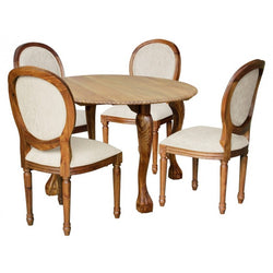 01 Member Special - Queen Anna Solid Timber Round Back French Dining Chair, 6 Dining Chair Piece Set TEK168 CH 000 RD QA M ( Picture Illustration Colour for Reference Only ) ( Mahogany Colour )