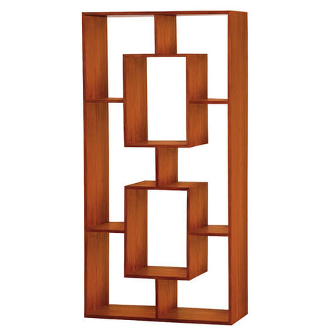 Minimalist Light Pecan Color Teak Bookcase Display -Cube-Shelf-TEK168CU-005-RPN-LP
