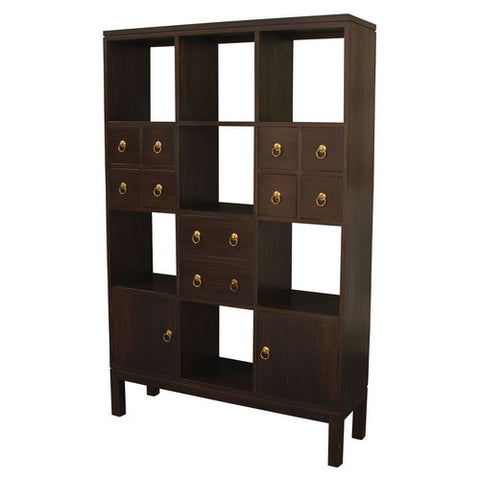 Minimalist Teak Bookcase Display 2-Door-10-Drawer-Room-Divider-TEK168SC-210-PN