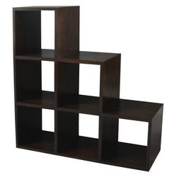 Minimalist Teak Cube-Six-Stairs-Shelf-Display Bookcase TEK168CU-006-RPN