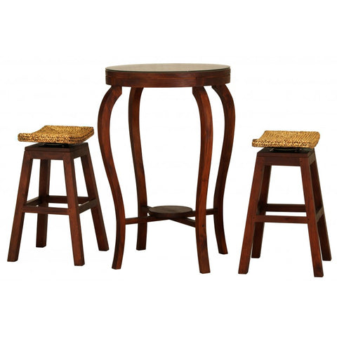 Ornament Tall Bar Table and 2 Bar Stool Mahogany Colour TEK168 BR 102 WV SET