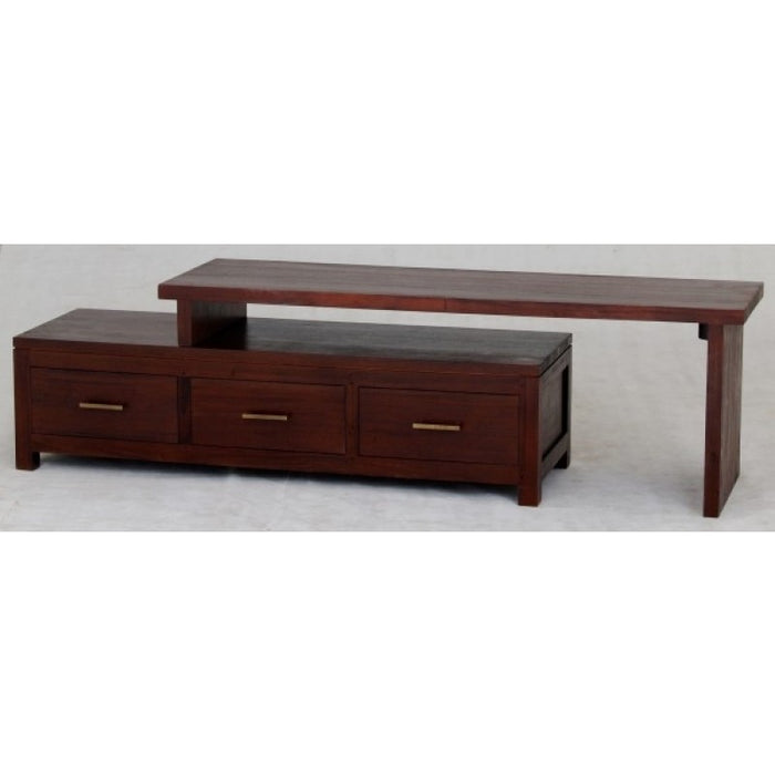 Milan Extension Movable TV Console with 3 Drawers TEK168 TV 003 PNM ( Mahogany Colour )