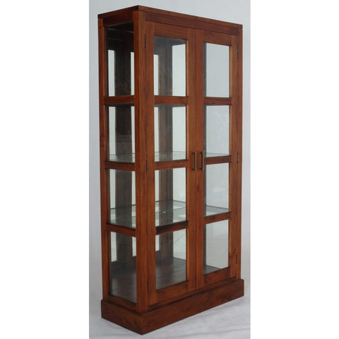 FireSale Member Special - Milan Glass Display 2 Door Mirror Back TEK168 DC 200 PNM K ( Mahogany Colour )