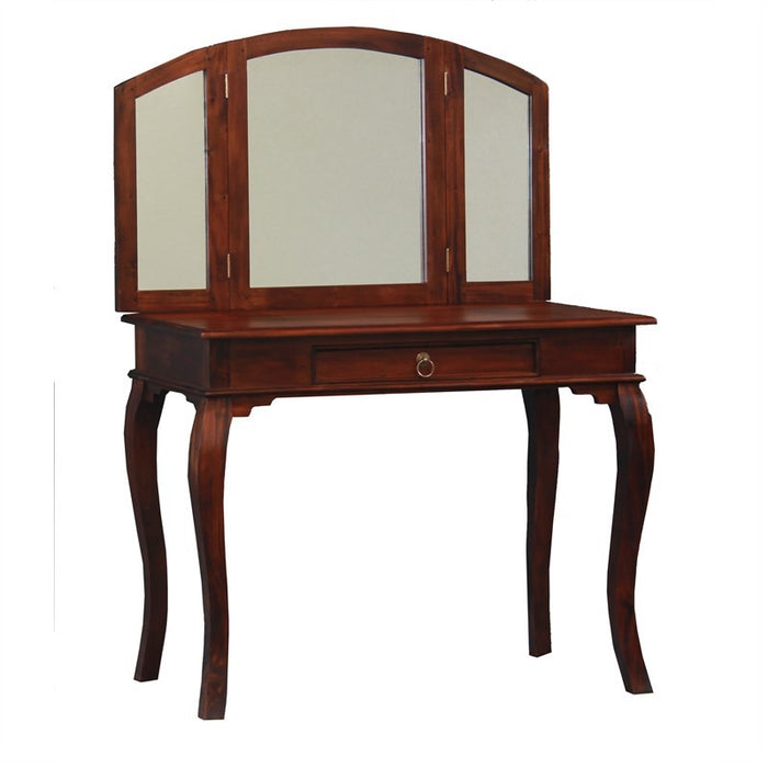 MP - Queen AnnMary Dressing Table with Stool Vanity Mirror 3 Folding Mirror 1 Big drawer TEK168 ST 001 MR QA ( Package ) ( Mahogany Colour )