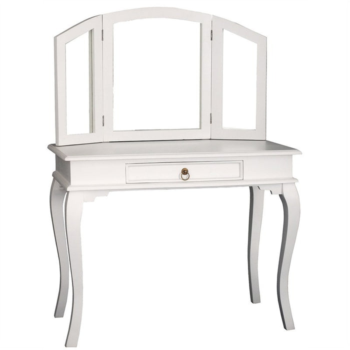MP - Queen AnnMary Dressing Table Vanity Mirror 3 Folding Mirror 1 Big Drawer with Stool TEK168 ST 001 MR QA ( White Colour )