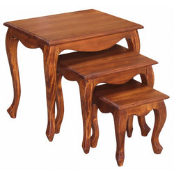 Rennes Queen AnnMary 3 Piece Solid Timber Nested Table Set, Light Pecan Colour TEK168NT-300-QA-BLR-1 ( Pre Order 8- 12 Week )