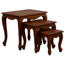 Rennes Queen AnnMary 3 Piece Solid Timber Nested Table Set, Mahogany Colour TEK168NT-300-QA-BLR-1