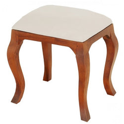 Queen AnnMary French Stool with attached cushion TEK168CH 001 QA ( Light Pecan Colour )