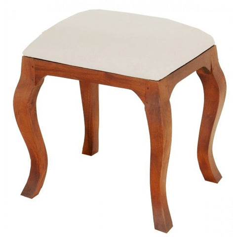 Queen AnnMary French Stool with attached cushion TEK168 CH 001 QA ( Light Pecan Colour )