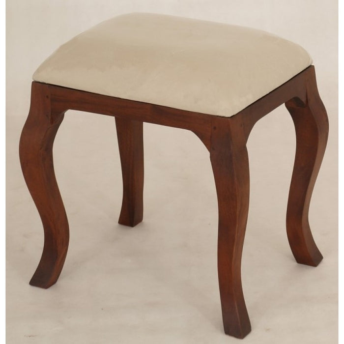Queen AnnMary French Stool with attached cushion TEK168 CH 001 QA ( Mahogany Colour )