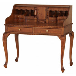 Member Special - Queen AnnMary French Writing Desk with Secret Compartments Vanity Dressing Table TEK168DK 119 CV ( Light Pecan Colour )